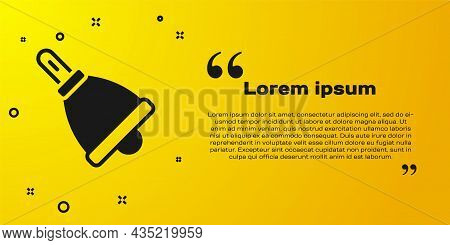 Black Ringing Bell Icon Isolated On Yellow Background. Alarm Symbol, Service Bell, Handbell Sign, No
