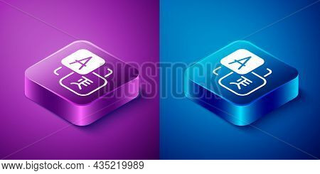Isometric Translator Icon Isolated On Blue And Purple Background. Foreign Language Conversation Icon