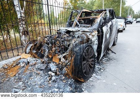 Burnt Exploded Car. Consequences Of Disaster Or Terrorist Attack