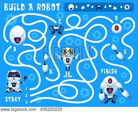Kids Game Build A Robot Maze With Cartoon Artificial Intelligence Bots And Spare Parts. Vector Educa