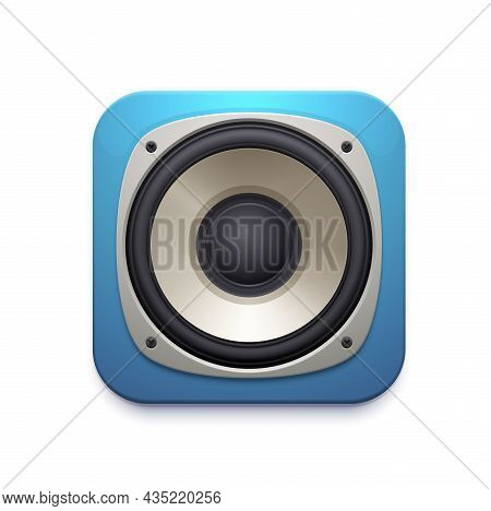 Sound Speaker Icon Of Audio Music Stereo System. Vector Square Button Of Musical Mobile Application