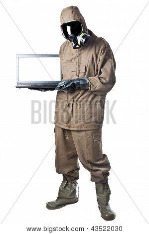 Man In Hazard Suit Holding A Laptop