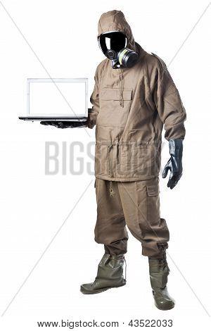 Man In Hazard Suit Showing A Laptop