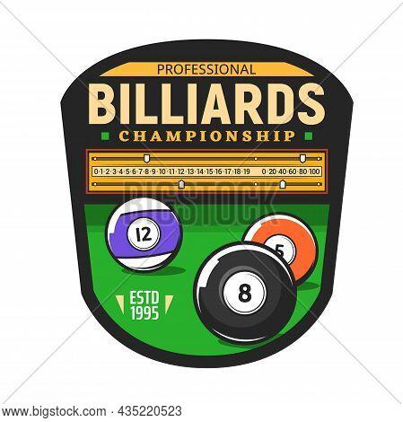 Billiards Championship Icon For Snooker Pool Sport Game Tournament, Vector Symbol. Poolroom Billiard