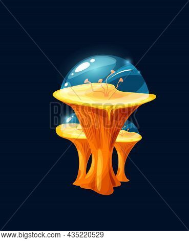 Fantasy Magic Jelly Yellow Mushroom. Cartoon Vector Alien Planet Plant, Flower Or Live Organism With