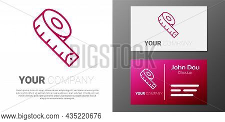 Logotype Line Measuring Tape Icon Isolated On White Background. Tape Measure. Logo Design Template E