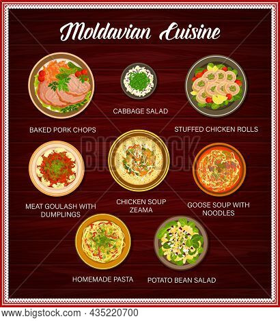 Moldavian Cuisine Food Menu, Dishes And Meals Poster, Vector. Moldovan Traditional Food Dinner And L