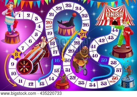 Cartoon Circus Performers On Kids Board Game. Child Playing Activities Book Page. Dice Roll And Move