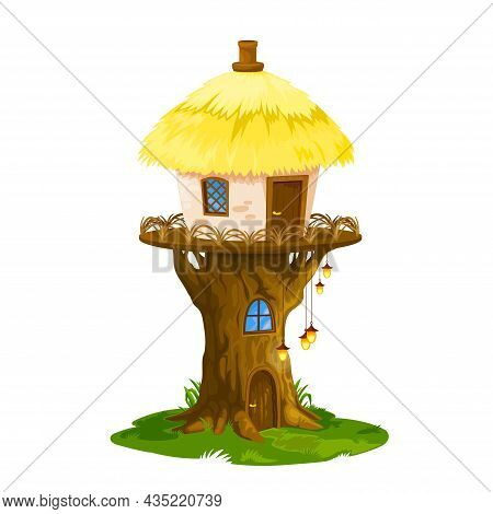Fairy Elf Or Gnome House, Vector Dwelling Of Cartoon Fantasy Magic Forest Tree Stump With Cute Windo