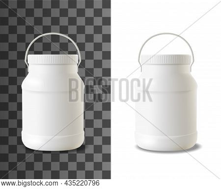 Mayonnaise Plastic Bottle. Realistic Packaging Mock-up Of Sour Cream, Yogurt Or Ice Cream Dairy Prod