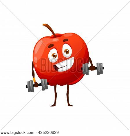 Cartoon Apple On Fitness With Dumbbells Isolated Happy Character. Vector Summer Fruit Hobby Sport Ac