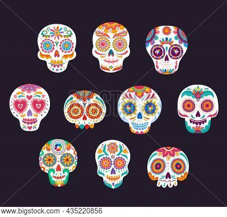 Mexican Calavera White Sugar Skulls Vector Set Of Dia De Los Muertos Or Day Of The Dead Holiday. Mex