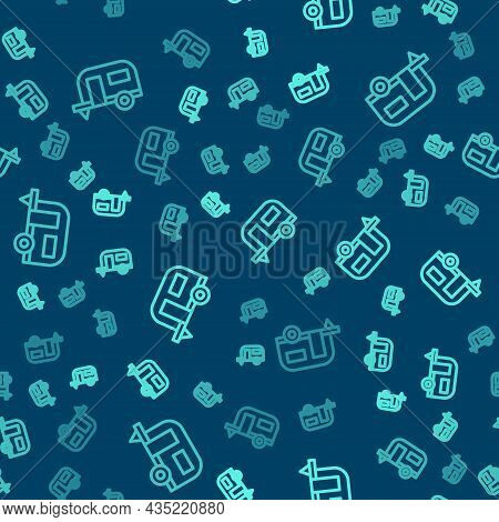 Green Line Rv Camping Trailer Icon Isolated Seamless Pattern On Blue Background. Travel Mobile Home,