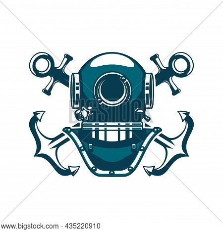 Marine Heraldic Icon Of Diving Helmet And Crossed Anchors, Vector Nautical And Seafaring Symbol. Ret