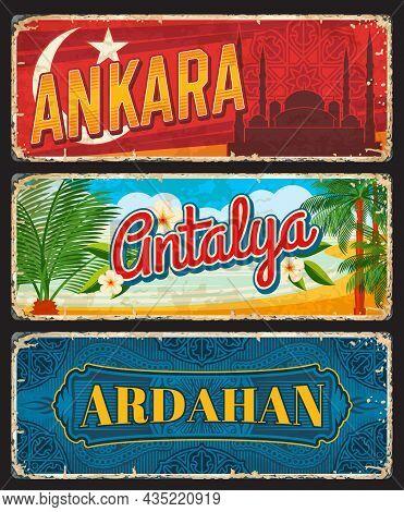Ankara, Antalya And Ardahan Provinces Of Turkey, Il Vintage Plates. Vector Aged Travel Destination B