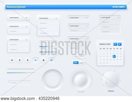 Neumorphic Ui, User Interface Buttons, Search Bars And Switches. Vector Ux Kit For Mobile Applicatio