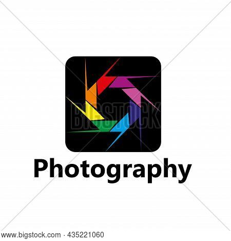 Photography Vector Icon Of Diaphragm With Colorful Leaves Or Blades, Photographer Photo Studio Or Ph