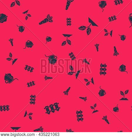 Set Garden Fence Wooden, Carrot, Wheelbarrow With Dirt And Plant On Seamless Pattern. Vector