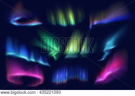 Northern Polar Lights And Aurora Borealis Glow. Realistic Vector Waves And Swirls Of Green, Pink And