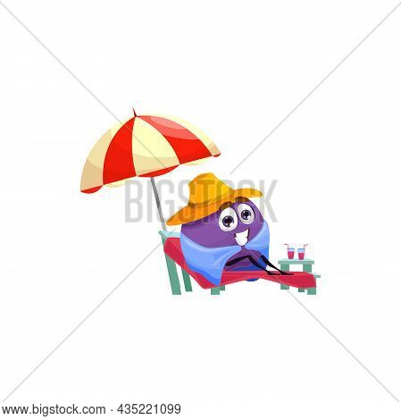 Plum Cartoon Character Sitting On Chaise Lounge Under Umbrella Isolated Tropical Fruit On Rest. Vect