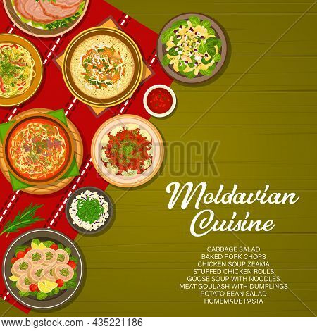 Moldavian Food Cuisine, Moldovan Menu Cover, Meals Of Lunch And Dinner, Vector. Traditional Moldovan