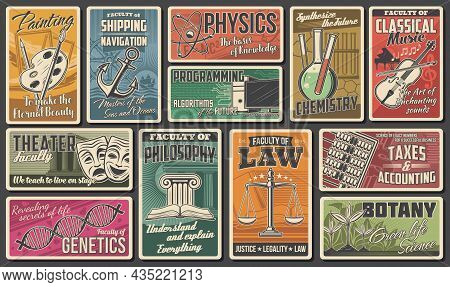 University, Academy Faculties Vector Retro Banners. Programming Information Technology, Painting And