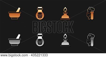 Set Mortar And Pestle, Poison In Bottle, Alcohol Spirit Burner And Chemical Explosion Icon. Vector