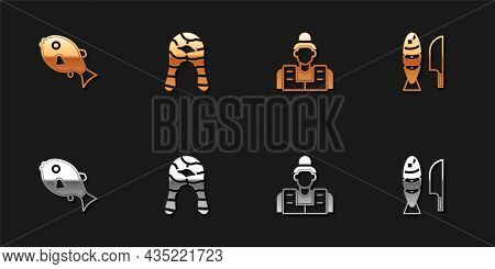 Set Tropical Fish, Fish Steak, Fisherman And With Sliced Pieces Icon. Vector