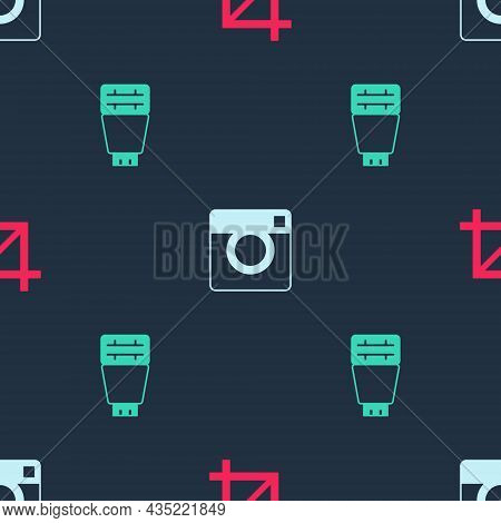 Set Picture Crop Photo, Photo Camera And Flash On Seamless Pattern. Vector