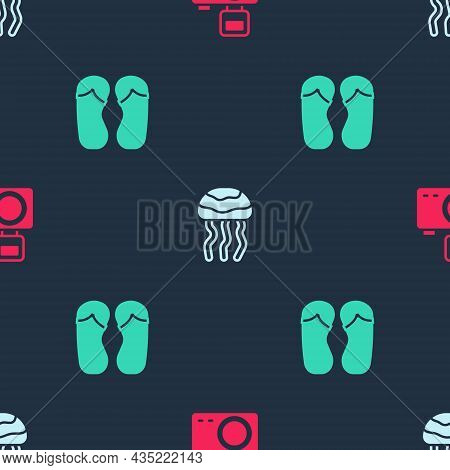 Set Photo Camera With Flash, Jellyfish And Flip Flops On Seamless Pattern. Vector