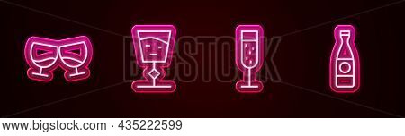 Set Line Glass Of Cognac Or Brandy, Wine Glass, Champagne And Beer Bottle. Glowing Neon Icon. Vector