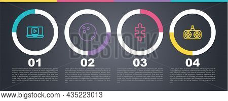 Set Line Online Play Video, Bowling Ball, Piece Of Puzzle And Gamepad. Business Infographic Template