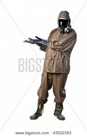 Man In Hazard Suit Promoting Something
