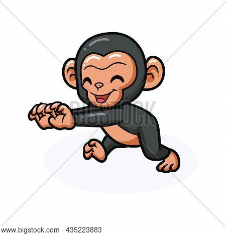 Vector Illustration Of Cute Baby Chimpanzee Cartoon Posing