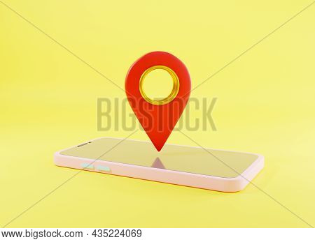 Map Pinpoint Symbol Place Location Design Style Modern Icon On Screen Smartphone, Red Pin Pointer Gp