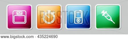Set Line Bathroom Scales, Stopwatch, Music Player And Doping Syringe. Colorful Square Button. Vector