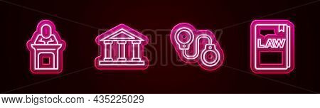 Set Line Judge, Courthouse Building, Handcuffs And Law Book. Glowing Neon Icon. Vector