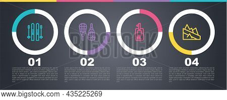 Set Line Ski And Sticks, Snowshoes, Identification Badge And Mountain Descent. Business Infographic