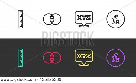 Set Line Ruler, Mathematics Sets A And B, Xyz Coordinate System And Function Mathematical Symbol On