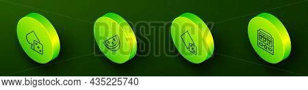 Set Isometric Line Game Dice, Casino Slot Machine With Watermelon, And Slot Jackpot Icon. Vector