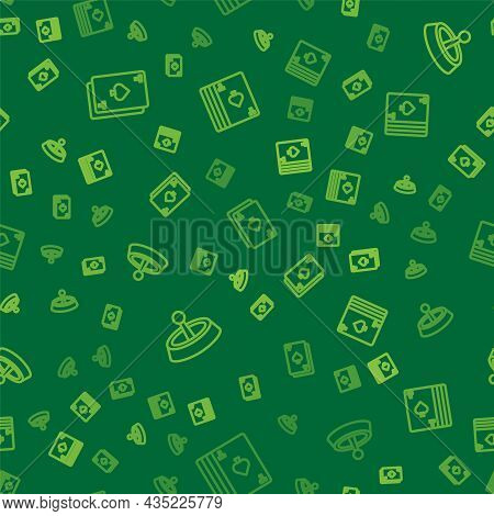 Set Line Playing Card With Spades, Casino Roulette Wheel And Deck Of Playing Cards On Seamless Patte