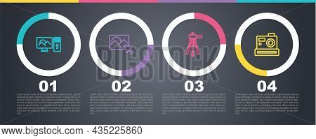 Set Line Photo Retouching, , Tripod And Camera. Business Infographic Template. Vector