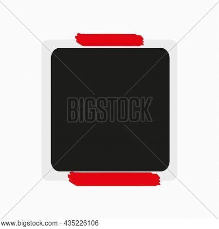 Photo Frame Icon With Red Tape. Wall Sticker. Modern Style. Vintage Empty Snapshot. Vector Illustrat
