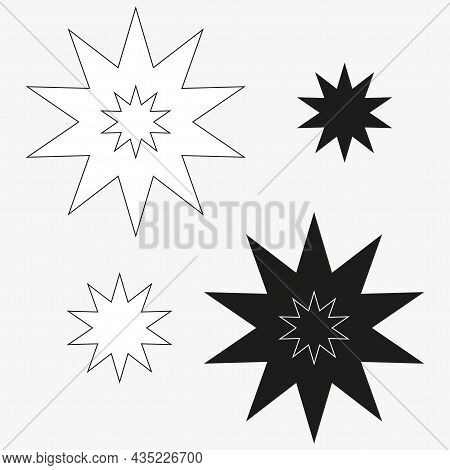 Bang Speech Bubble Icon. White And Black Silhouettes. Chat Sign. Cartoon Style Design. Vector Illust