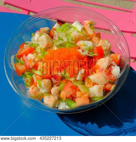 Refreshing Bahama Seafood Poke Bowl Lunch On Hot Summer Day