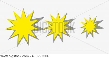 Yellow Starburst Icon Set. Bang Sign. From More To Less. Price Tag. Sale Emblem. Vector Illustration