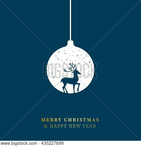 Merry Christmas And Happy New Year Concept. Silhouette Reindeer Shape Inside Christmas Bauble. Vecto