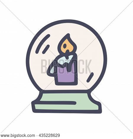 Candle In Crystal Ball Color Vector Doodle Simple Icon