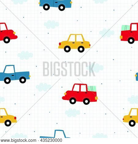 Seamless Repeat Vector Pattern Vintage Car Background With Square Grid Backdrop Ideal Design Concept