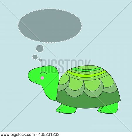 Cute Graphic Cartoon Turtle With Message  On Gray Isolated Background. Greeting Card Illustration.
